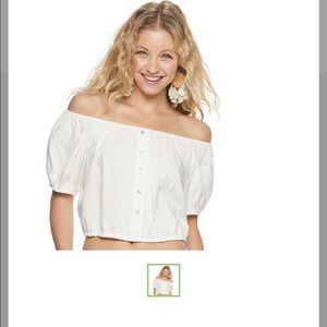 Juniors' Candie's Off-the-Shoulder Peasant Top